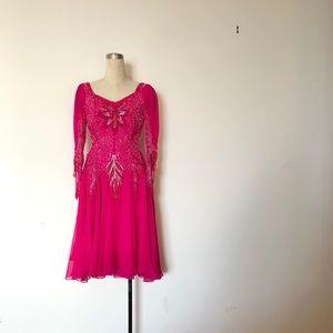 Alyce Designs - Vintage Hot Pink Evening Dress